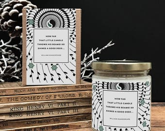 Shakespeare Literary Candle, Natural Soy Candle, Literary Gift for Her, Book lover Gift for Him, Hostess Gift, Stocking Stuffer