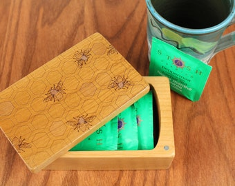 Honey Bee Pattern, Wooden Storage Box 5-3/8 x 3-3/8, Solid Cherry - Laser Engraved, Paul Szewc, Masterpiece Gallery