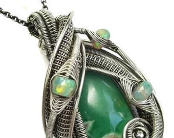 Wire-Wrapped Variscite Pendant in Antiqued Sterling Silver with Ethiopian Welo Opals