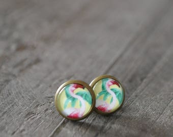 Clous d'oreilles - Studs earrings - Flamingo - Flamants roses - Vert - Jaune - Été - Coco Matcha