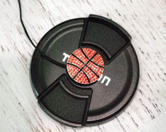 Lens Cap Leash - Basketball Mom Gift - DSLR Camera Lens Cap Holder - Camera Strap - Camera Accessories - Nikon - Canon -  Basketball Bling