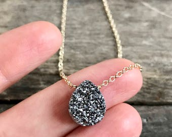 Silver Druzy Necklace, Druzy Quartz Necklace, Drusy Necklace, Layering Necklace, Gemstone Necklace, Druzy Jewelry, 14K GF Cable Chain