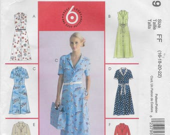 McCall's 4769 Petite Front Button Dress in Two Lengths and Bias Sash with Sleeve Variations  Size 16 to 22 Bust 38 to 44