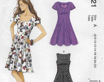 McCall's 6821 Misses Semi Fitted and Flared Dress Sewing Pattern; Size 6 to 22, Bust 30 1/2 to 44