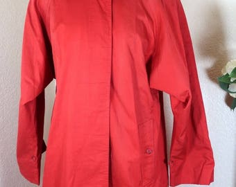 Vintage BURBERRYS BURBERRY Red Long Cotton Trench Coat 6 7 8 Medium