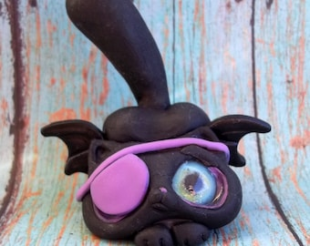 Patches the One eyed Cat/Bat,ring holder,polymer  clay sculpture,original art, figurine,knick knack,collectible,Covington Creatons