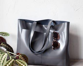 Xmas SALE Large Grey Leather Tote bag No. LPB-1041
