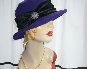 Blue Plum Fleece Brim Hat/Fedora