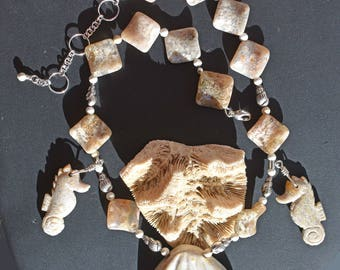 Seahorses w/Clamshell Ocean Jasper Necklace