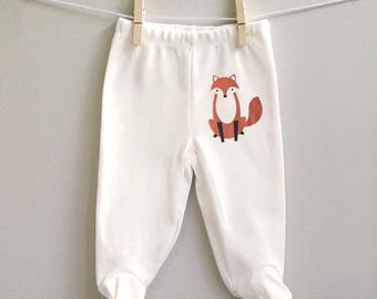 Fox baby pants, pants with feet, baby clothes, baby shower gift