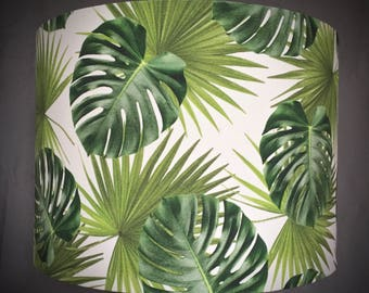 Totally Tropical Green Palm Leaves Handmade Drum Lampshade