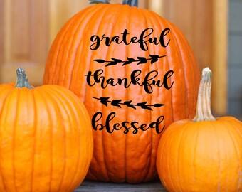 Grateful Vinyl Art Decal- Grateful Fall Vinyl Decal, Thankful Vinyl Wall Decal, Fall Grateful Home Decor, Thankful Art Decal, 5.5x6.5