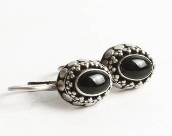 Black Onyx Earrings, Sterling Silver Onyx Earrings, Silver and Black, Boho Gift for Her, Oval Beaded Black Onyx Jewelry, 925 Navajo (V6866)