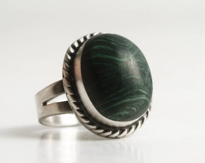 Green Malachite Ring, Vintage Sterling Silver Ring with Green Stone, Pinky Ring Size 3.75 Ring, Mexico Silver, Large Green Stone Ring (6854)