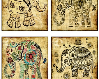"Elephant, Pacaderm, Africa, Circus Animal, 4"" Squares, Instant Download, 5 Pages, 20 Different Images (17-3)"