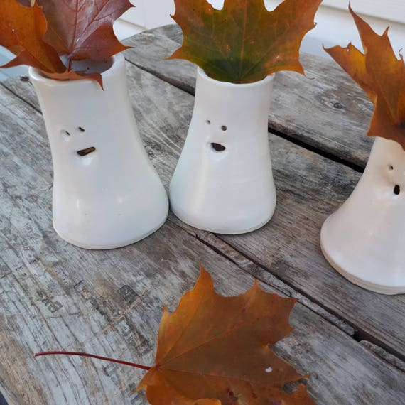 Pottery trio of ghost vases modern white 3 inches tall perfect for home decor Halloween