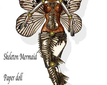 printable steampunk skeleton mermaid articulated paper doll craft project, for scrapbook, shadow box, collage