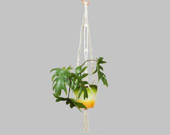 "Cotton Macrame Plant Hanger / Hanging Planter Indoor / Flower Pot Holder / Hanging Plant Holder / Bohemian Decor / Boho Home / White / 32"""