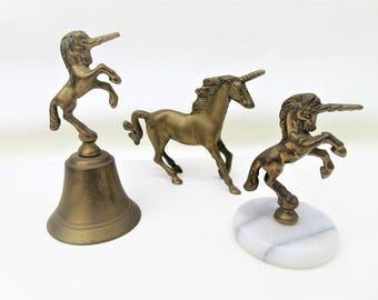 Vintage Brass Unicorns | Brass Bell | Unicorn Bell | Mythical Horse | Lot of 3