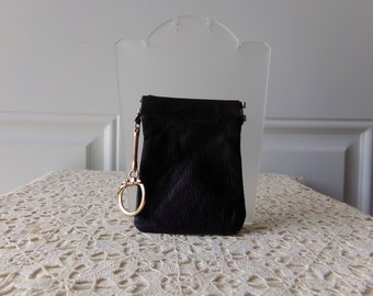 Black Leather Change Purse - Coin Purse, Keychain, Made in Korea, Pinch-Style Opening, Collectible, Gift Idea