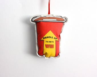 Ornament: tree decoration- Canadian Christmas Ornament- Plush take away coffee cup