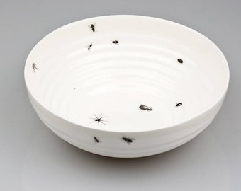 Porcelain Bowl with Insects, Ceramic Bowl with Ants and Bugs, Serving Bowl