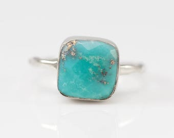Turquoise Ring Sterling Silver, December Birthstone Ring, Stackable Stone Ring, Solitaire Ring, Silver Ring, Cushion Cut Ring, Gift for Her