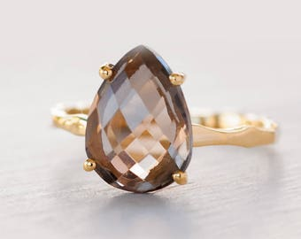 Smokey Quartz Ring Gold, Brown Stone Ring, Gemstone Ring, Stacking Ring, Solitaire Gold Ring, Tear Drop Ring, Prong Set Ring, Gift for Mom