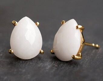 White Agate Stud Earrings - Bridal Earrings - Gold Stud Gemstone Earrings - Teardrop Studs - Prong Set studs - Bridesmaids Gift