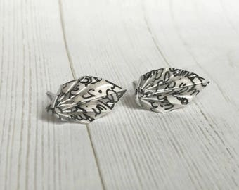 Little Origami Leaf Post Earrings / Handwritten