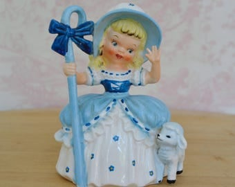 Vintage 1956 Little Bo Peep Figurine with One Sheep by Napco