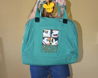 Oversize Vintage Green Mickey Mouse Duffle Bag