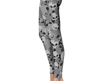 Skull Camo Leggings, Capris or Yoga Pants • Black • You Can Request Custom Color