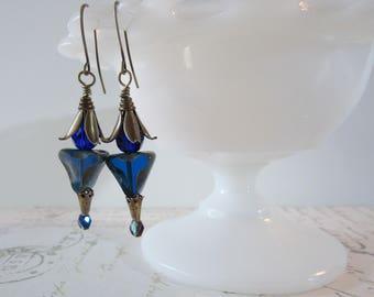 Art Deco Cobalt Earrings // 1920s Blue & Brass Dangles
