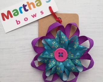 Double rosette bow, purple, pink, teal, floral