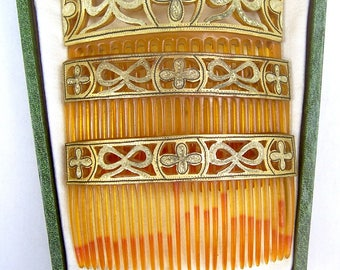 Boxed Set Three Hair Combs Victorian Damascene Work Hair Accessory Hair Jewelry Decorative Comb Hair Ornament Headdress Headpiece
