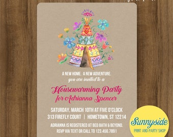 Tribal Housewarming Party invitation with floral teepee // adventure new home party invite // open house printable or printed invitations
