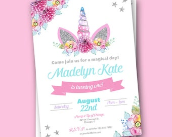 Unicorn Invitation - Unicorn Invitations - Unicorn Birthday Invitation - Unicorn Birthday Invites - Unicorn Birthday Party - Rainbow Unicorn