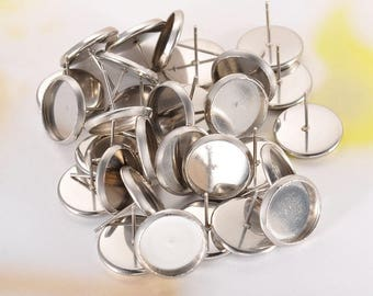 USA 24 - 100 Pieces 10mm - 12mm Bezel Inlayed Design Steel Stud Post Earrings Blank Flatback Glue Pad Cabochon Pcs Round