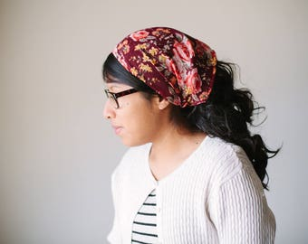 Fall Florals Red Burgundy Short Chiffon Headcovering | Women's Headcovering Veil