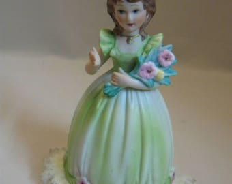 Figurine Girl Holding Flowers Long Dress Fabric Material Ruffles 1940