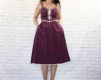 RARE Vintage 70s Gunne Sax Plum Floral Lace-Up Prairie Midi Sun Dress M L Belted Pockets Bohemian Steampunk