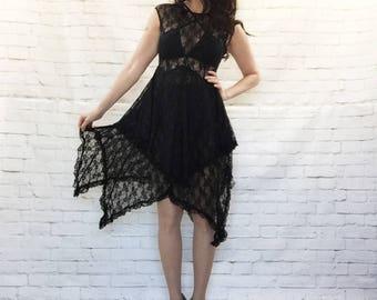 Vintage 90s Sheer Black Lace Layered Ruffled Goth Asymmetrical Gypsy Fairy Dress S M