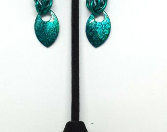 Beautiful Hand Alcohol Inked Scale Chainmaille Earrings