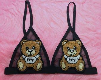 Sale Toy Bear Black Sheer Mesh Bra. Bear Patch Bra Badge Bra Mesh Bra Unpadded Bra Triangle Bralette Fishnet Handmade. 90s Grunge PastelGoth