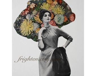 One of a Kind Paper Collage, 8.5 x 11 Inch Retro Wall Art, Mid Century Modern, Floral Collage Art, Minimal Decor, Fashion