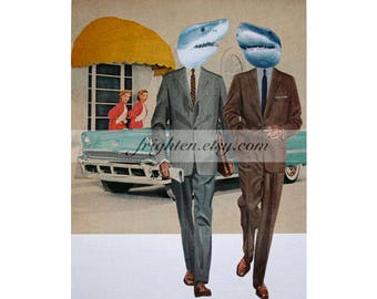 One of a Kind Paper Collage, 9x12 Inch Retro Shark Art Man Cave Gift for Men, Original Collage Art