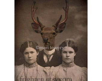 Stag Art Print, Creepy Twins with Deer in Suit Anthropomorphic 5x7 or 8x10 Collage Art Print, Masculine Wall Art