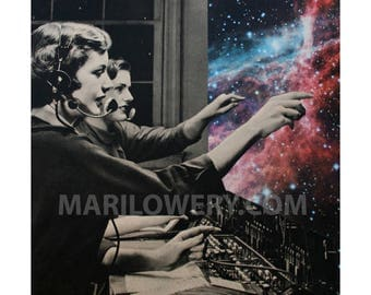 Surreal Space and Stars Art, Retro Paper Collage Print, Telephone Operators, Colorful Wall Decor, 7x7 on 8.5 x 11 inch paper