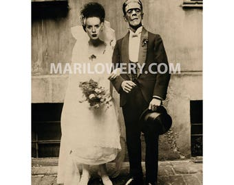 Frankenstein Art, 8x10 Inch Print, Bride and Groom, Halloween Decor, Mixed Media Collage, Frankenstein Wedding